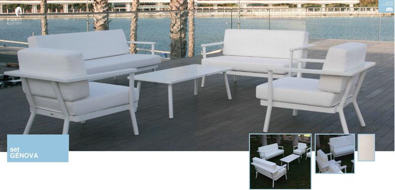 Set de sofá para exterior Genova de aluminio - Conjunto con estructura de aluminio en color blanco aluminio