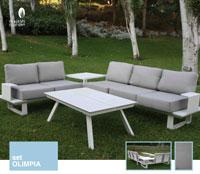 Set de sofá para exterior Olimpia - Conjunto con estructura de aluminio en color blanco