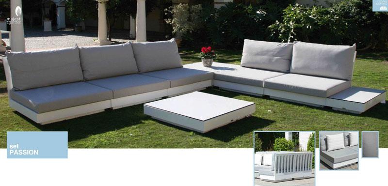 Set de sofá para exterior Passion de aluminio - Conjunto con estructura de aluminio en color blanco