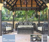 Set Sofá para exterior Saint Tropez - Conjunto con estructura de aluminio y fibra sintética de color marron