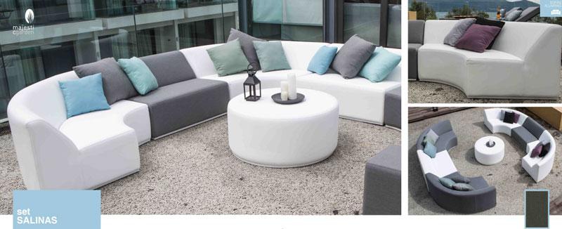Set de sofá para exterior Salinas - Conjunto con estructura de aluminio con tapizado en micro fibra imitacion de piel color blanco y tapizado gris en poliester y acrilico