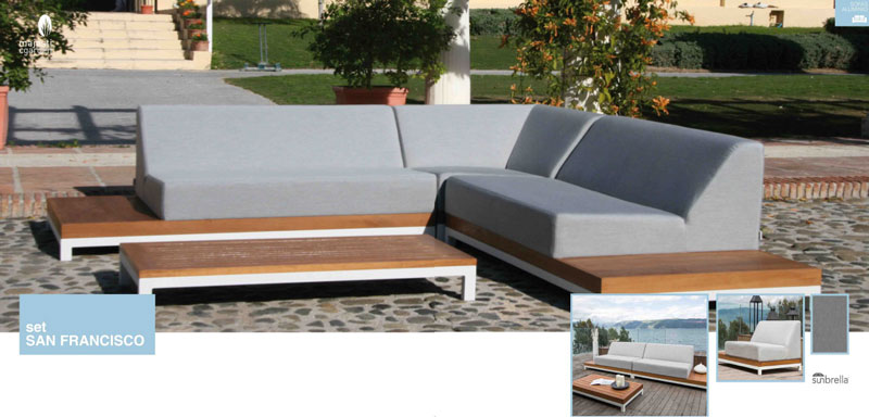 Mia home set de sof para exterior san francisco for Sofa exterior aluminio