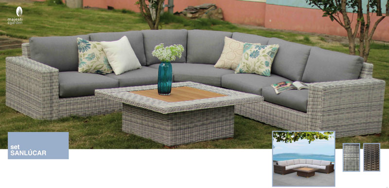 Set de sofá para exterior SanLucar - Conjunto con estructura de aluminio y fibra sintética en 2 colores