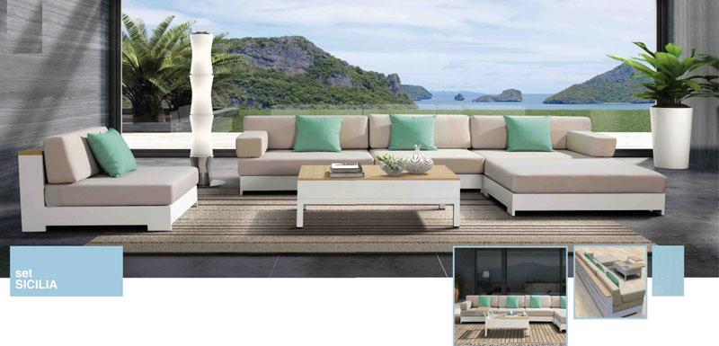 Sof de ratt n sint tico sof de exterior sof de jardin for Sofa exterior aluminio blanco