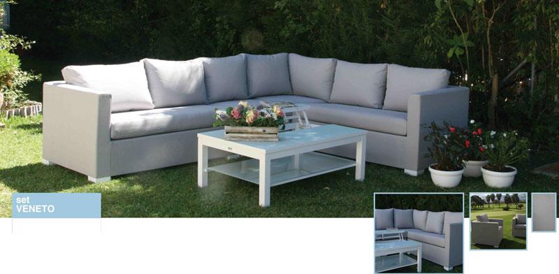 Set de sofá para exterior Veneto - Set de sofá para exterior fabricado con estructura de aluminio y batyline