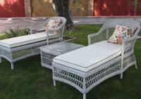 Tumbona Vintage - Tumbona con estructura de aluminio y fibra sintética color blanco roto
