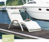 Tumbona Wave - Tumbona con estructura de aluminio y fibra sintética color blanco