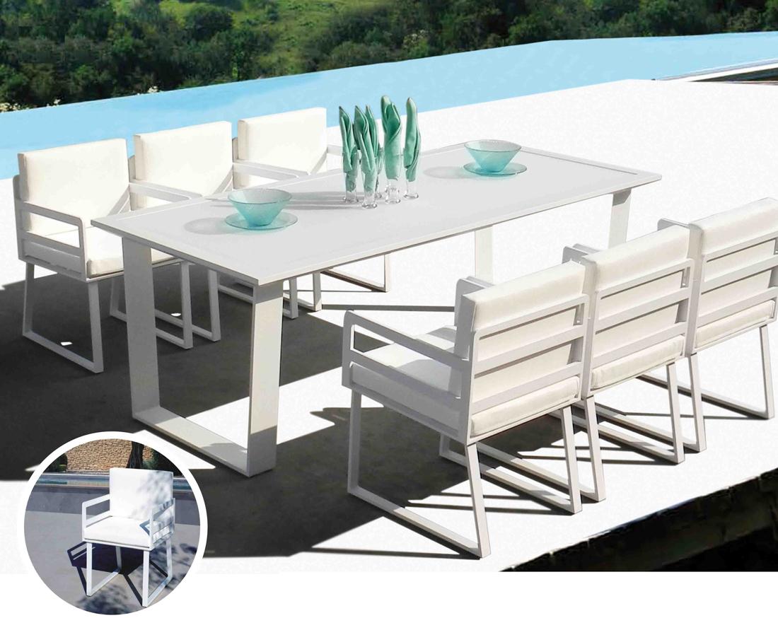 Set de mesa para exterior AIRE - Set de mesa de exterior con 6 sillones. Estructura de aluminio y cojineria en batyline