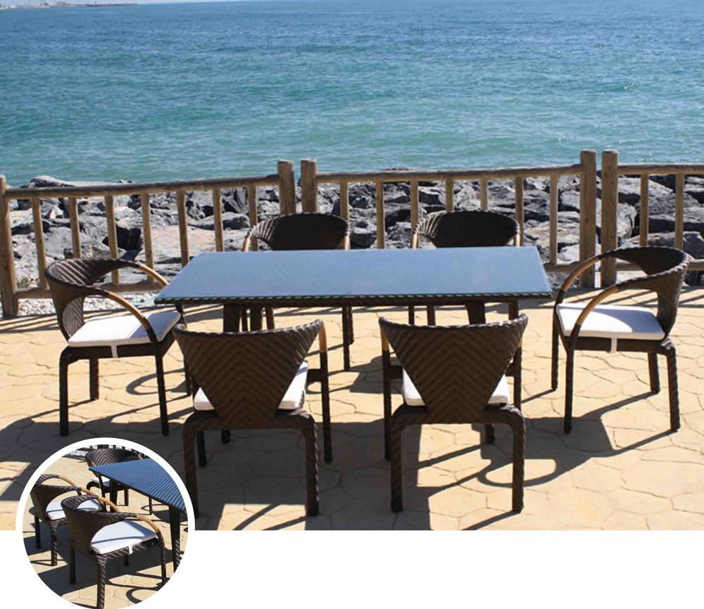 Set de mesa para exterior BRETON - Mesa de comedor o silla para exteriores BRETON. Estructura de aluminio y fibra sintetica