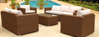 Set de sofá para exterior en rattan CAMPBELL - Set de muebles de sofá en rattan sintetico para exterior CAMPBELL