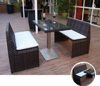 Set mesa para exterior y bancos CASTILLA - Set de mesa de exterior y bancos en estructura de aluminio con fibra sintetica, CASTILLA