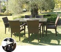 Set de mesa para exterior Boston - Set de mesa de exterior con 6 sillones. Estructura de aluminio tranzado en fibra sintetica marrón