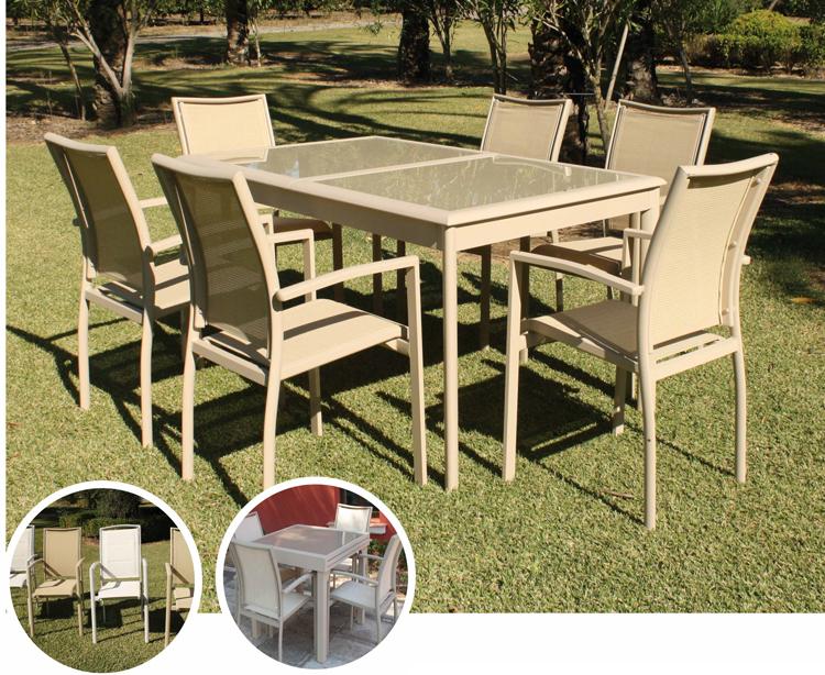 Mesa para exterior o sillones BUCAREST - Mesa de exterior extensible o sillones. Estructura y tablero de cristal templado, BUCAREST