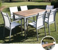 Set de mesa para exterior BURDEOS - Set de mesa de exterior extensible con 6 sillones. Estructura de aluminio con tablero de teca, BURDEOS