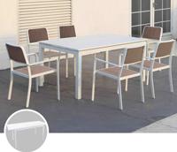 Set de mesa para exterior CORDOBA - Set de mesa de exterior extensible con 6 sillones. Estructura y tablero de aluminio, CORDOBA