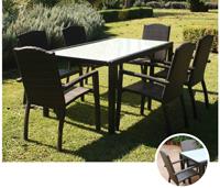 Set de mesa para exterior GUINEA - Set de mesa de exterior con 6 sillones. Estructura de aluminio tranzado en fibra sintetica marrón Guinea