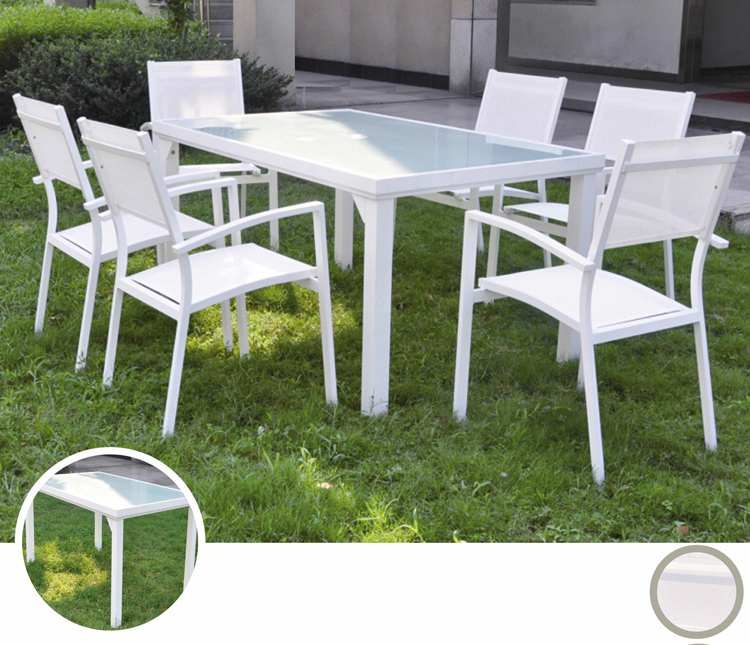 Mesa para exterior o sillones OSLO - Mesa de exterior o sillones en estructura de aluminio y tablero de cristal templado, OSLO