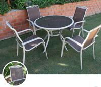Mesa para exterior o sillones ZAHARA - Mesa de exterior o sillones en estructura de aluminio y tablero de cristal templado, ZAHARA