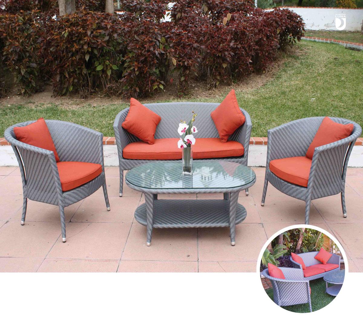 Set de sofá para exterior Florence - Set de muebles de sofá con trenzado de fibra sintetica para exterior Florence