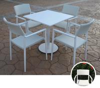 Set mesa para exterior y sillones LAGO - Set de mesa de exterior y sillones en estructura de aluminio con fibra sintetica, LAGO