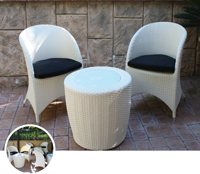 Set mesa baja para exterior y sillones LOTUS WHITE - Set de mesa baja de exterior y sillones en estructura de aluminio y fibra sintetica, LOTUS WHITE