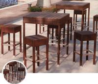Set mesa alta para exterior y taburetes MANHATTAN - Set de mesa alta de exterior y taburetes en estructura de aluminio con fibra sintetica, MANHATTAN
