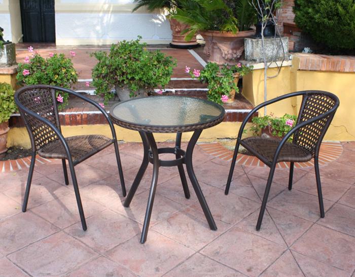 Mesa redonda o sillónes para exterior 30B - Mesa redonda o sillónes para exterior 30B. Estructura de aluminio tranzado en fibra sintetica