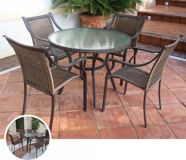 Mia home mesa redonda rect o sill nes para exterior kioto for Sillones para exteriores precios