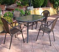 Mesa redonda/ovalada o sillónes para exterior LIMA - Mesa redonda/ovalada o sillónes para exterior LIMA. Estructura de aluminio trenzado en fibra sintetica