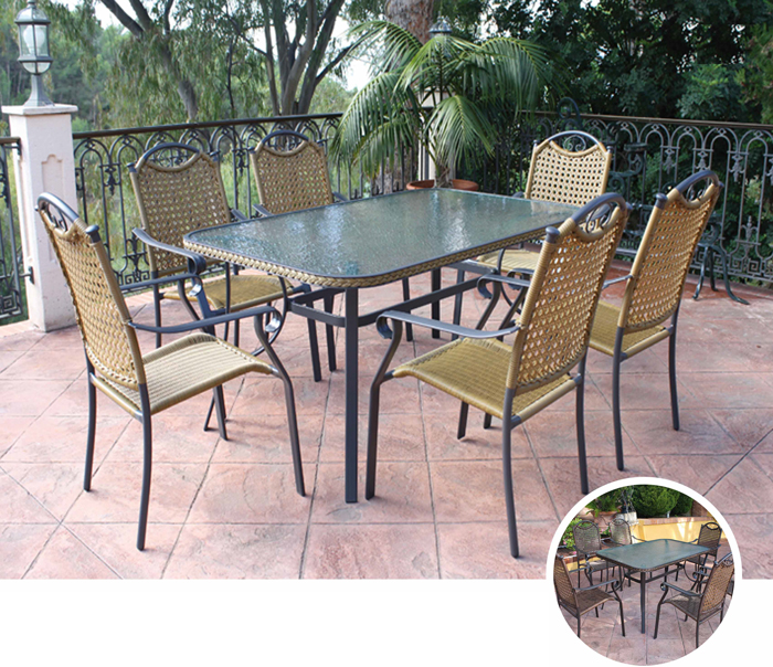 Mesa redonda/rectangular o sillónes para exterior NIDO - Mesa redonda/rectangular o sillónes para exterior NIDO. Estructura de aluminio trenzado en fibra sintetica