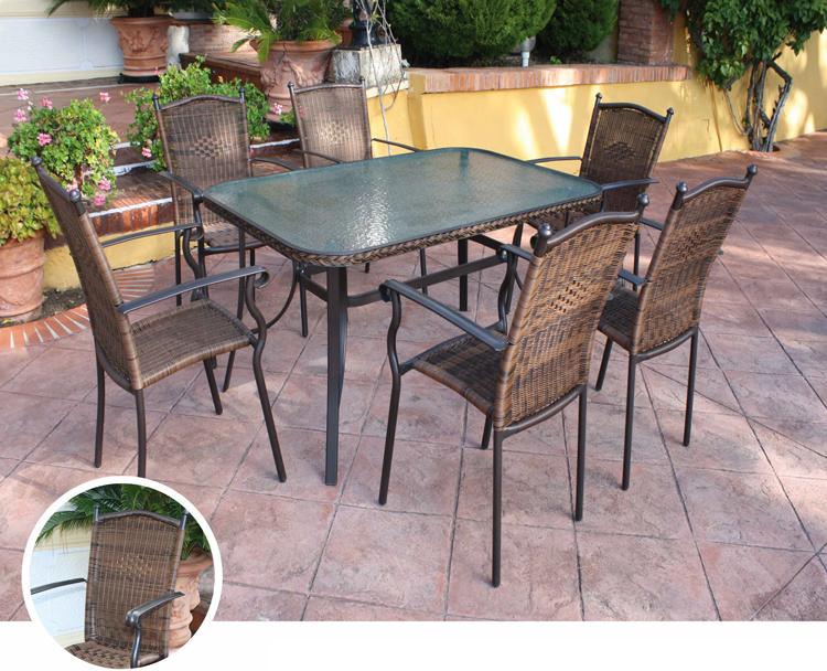 Mesa redonda/rectangular o sillónes para exterior TOLEDO - Mesa redonda/rectangular o sillónes para exterior TOLEDO. Estructura de aluminio trenzado en fibra sintetica