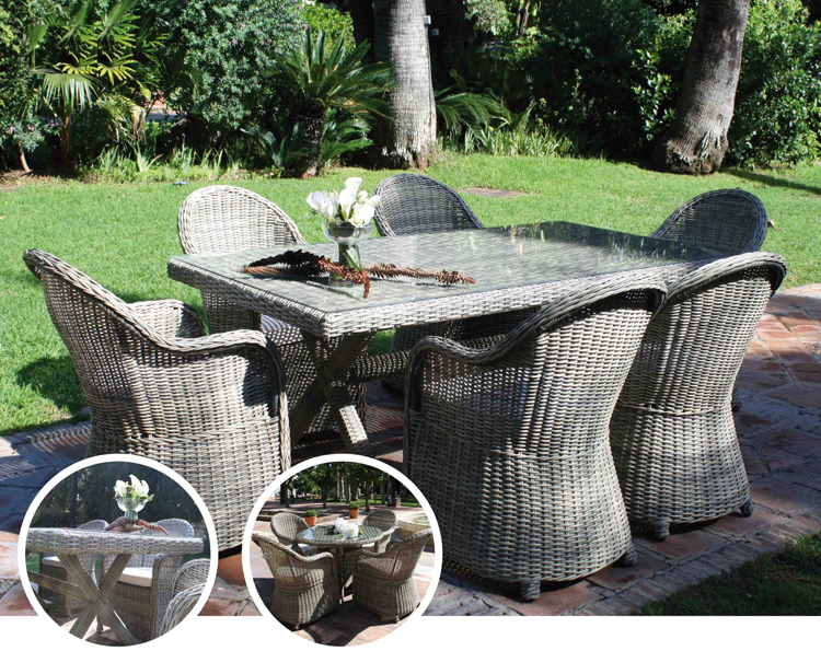 Set de mesa para exterior NOTTE - Mesa de comedor o silla para exteriores NOTTE. Estructura de aluminio y fibra sintetica