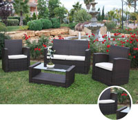 Set de sofá para exterior PEKIN - Set de muebles de sofá con trenzado fibra sintetica para exterior Pekin