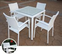 Set mesa para exterior y sillones PERLA - Set de mesa de exterior y sillones en estructura de aluminio con fibra sintetica, PERLA
