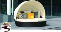 Tumbona de estructura de aluminio para exterior, BALEARES - Tumbona circular de estructura de aluminio con capota para exteriores modelo BALEARES