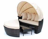 Tumbona de estructura de aluminio para exterior, CONIL - Tumbona circular con mesa de estructura de aluminio con capota para exteriores modelo COIL