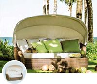 Tumbona de estructura de aluminio para exterior, LOTUS - Tumbona ovalada de estructura de aluminio con capota para exteriores modelo LOTUS