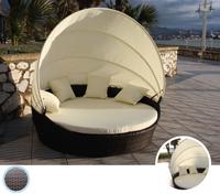 Tumbona de estructura de aluminio para exterior, TEIDE - Tumbona circular de estructura de aluminio con capota para exteriores modelo TEIDE