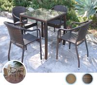 Set mesa para exterior y sillones TURKI - Set de mesa baja de exterior y sillones en estructura de aluminio y fibra sintetica, TURKI