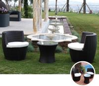 Set mesa baja para exterior y sillones VASE - Set de mesa baja de exterior y sillones en estructura de aluminio y fibra sintetica, VASE