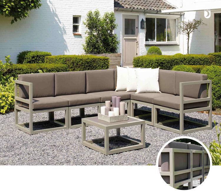 Set de sofá para exterior VICTORIA de aluminio - Set de muebles de sofá con cubierta batyline para exterior Victoria de aluminio