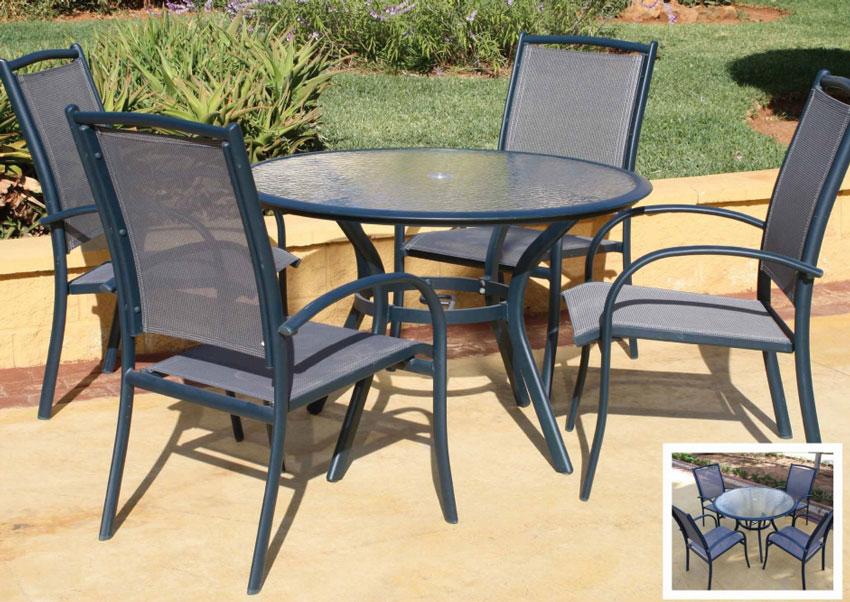Set de mesa y sillón para exterior Miami deluxe - Set de mesa y sillón para exterior Miami