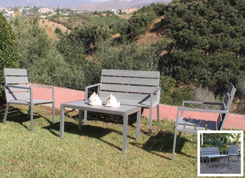 Set de sofá para exterior Berna de aluminio - Set de muebles de sofá  para exterior Berna