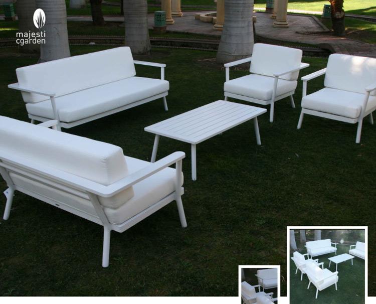 Set de sofá para exterior Genova de aluminio - Set de muebles de sofá  para exterior Genova