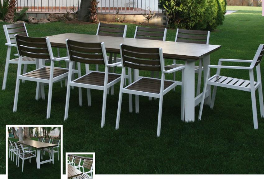 Set de mesa para exterior Gomera - Set de mesa de exterior Gomera, Gran comedor para terraza o jardín con estructura de aluminio de color blanco y asiento, respaldo y tablero de color imitación madera. Compuesto por mesa rectangular y 8 sillones.