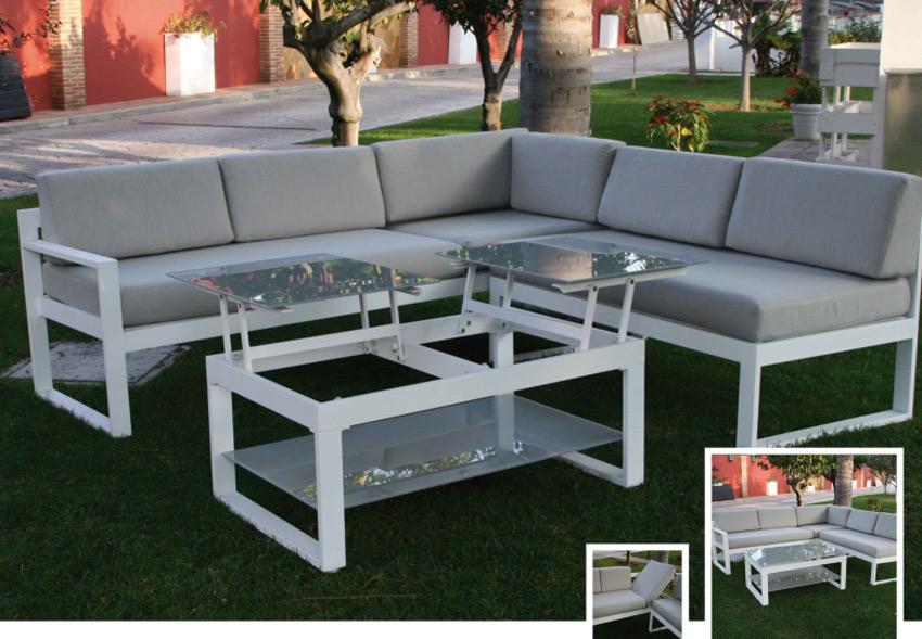 Set de sofá para exterior Malagueta de aluminio  - Set de muebles de sofá  para exterior Malagueta
