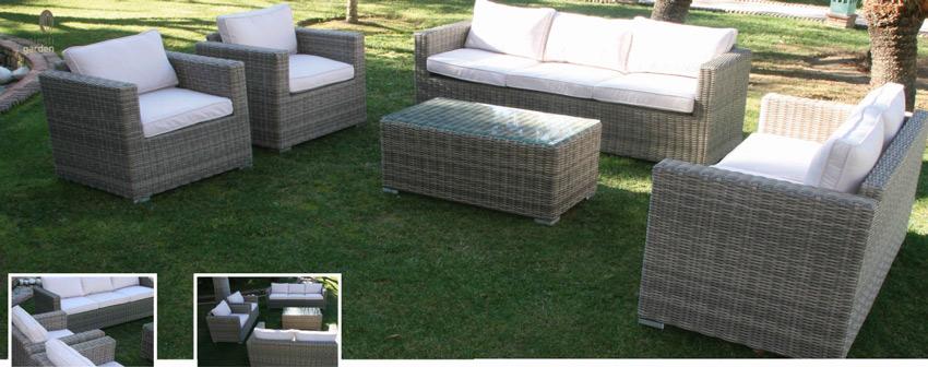 Set de sofá para exterior Notte - Set de muebles de sofá  para exterior Notte