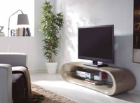 Mueble de TV CLAUDIA - Mueble de TV CLAUDIA, Fabricado en FIBRA VIDRIO/CRISTAL TEMPLADO