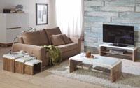 Mueble de TV CUBA - Mueble de TV CUBA, Fabricado en BLANCO BRILLO/ROBLE ENVEJECIDO