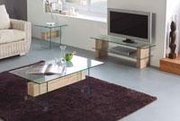 Mueble de TV NADINE - Mueble de TV NADINE, Fabricado en PAPEL MELAMINICO 3D/CRISTAL TEMPLADO